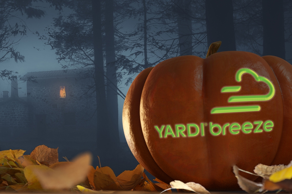 A spooky Halloween themed Yardi Breeze jack-o-lantern to scare trick-or-treaters