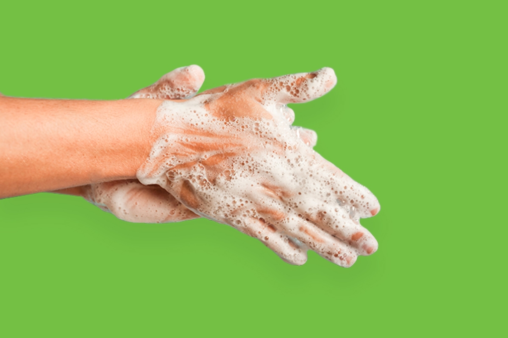 Image of resident washing hands to prevent cold and flu, including Coronavirus and COVID-19