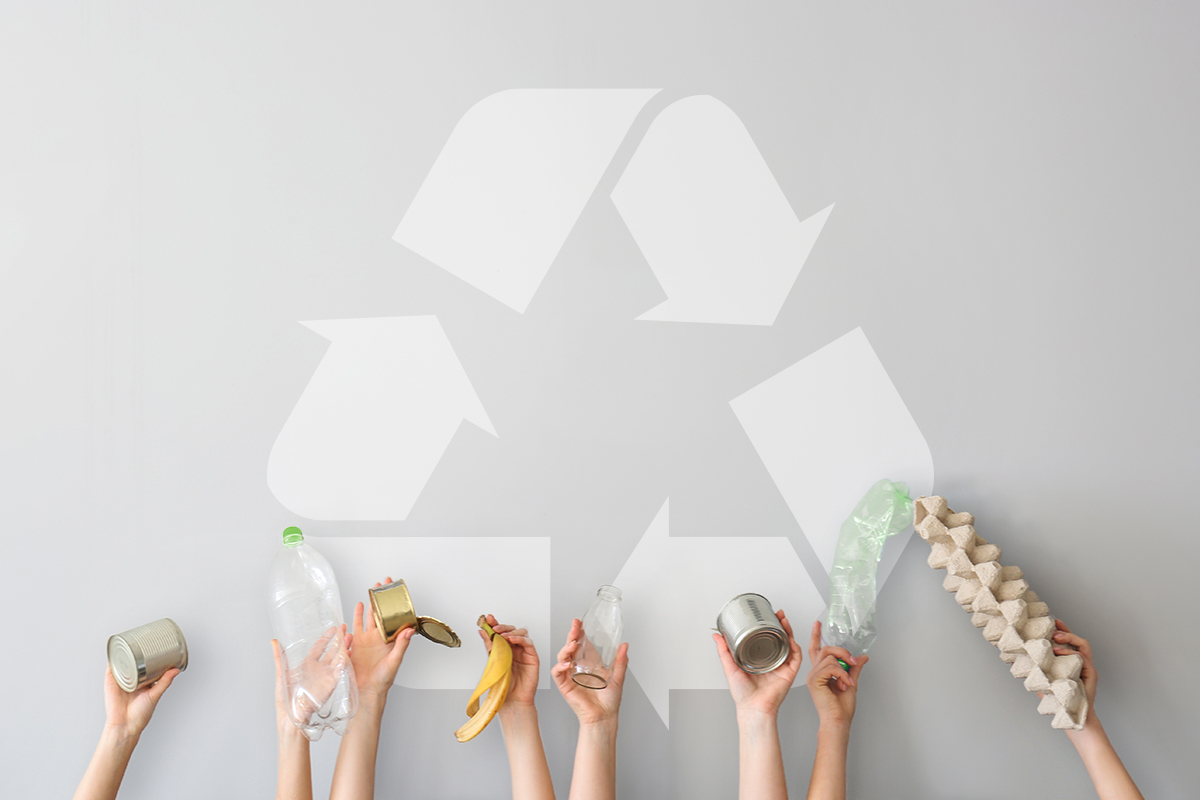 Residents reaching out to a recycling symbol
