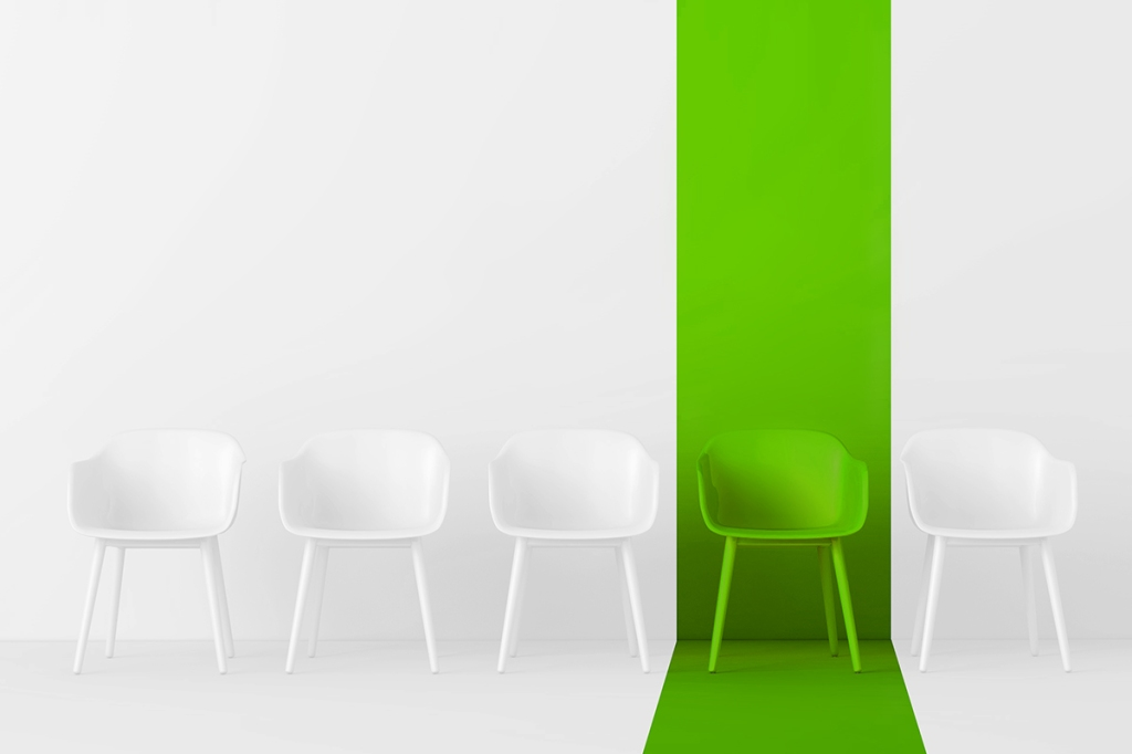 One chair in a row is highlighted to represent the traits IROs look for in a property manager
