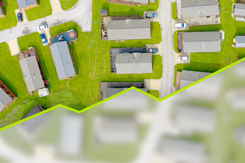 Bird's eye view of manufactured housing neighborhood