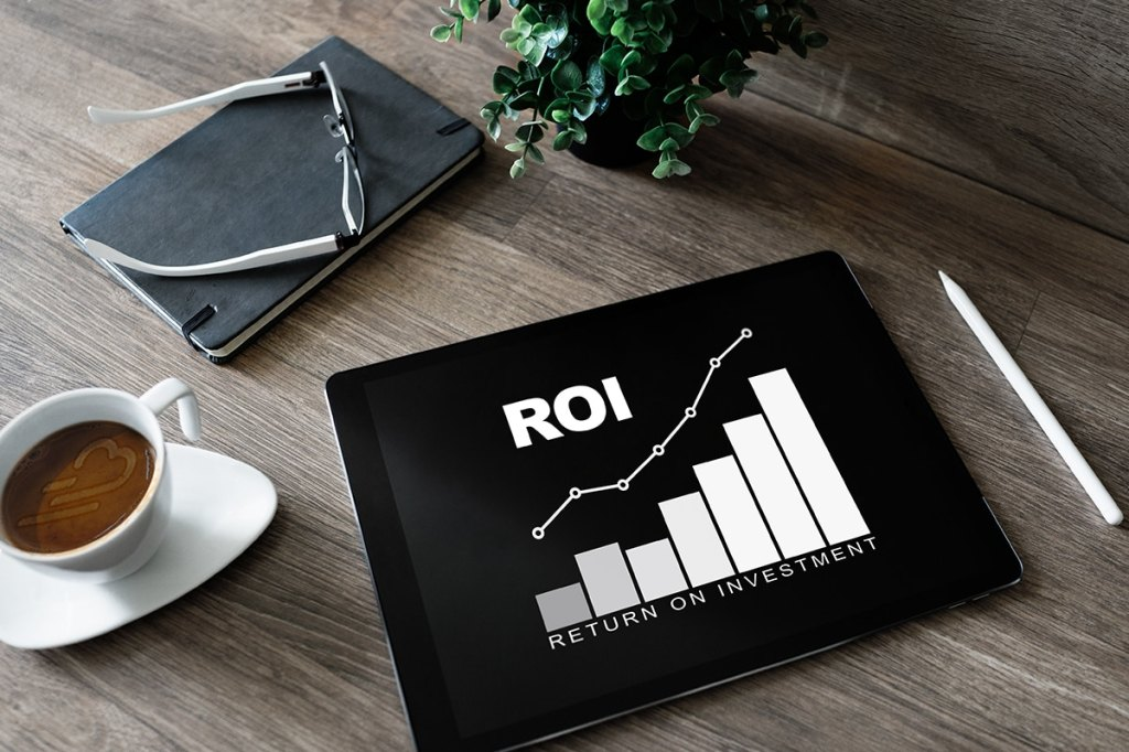 Tablet with ROI chart for property managers
