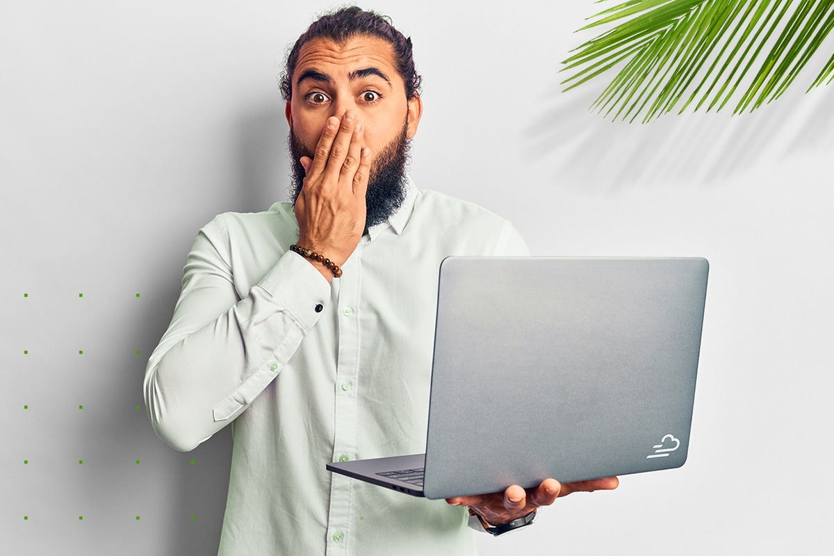 Man covering mouth in shock that he said something he should not have in his property marketing