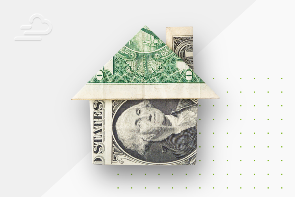 A dollar bill folded into the shape of a house, representing where every $1 of rent goes